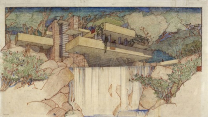 Дом над водопадом. Эскиз. The Frank Lloyd Wright Foundation Archives (The Museum of Modern Art | Avery Architectural & Fine Arts Library, Columbia University, New York).
