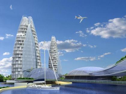 A ship-island. Recreation-public centre. Architectural concept