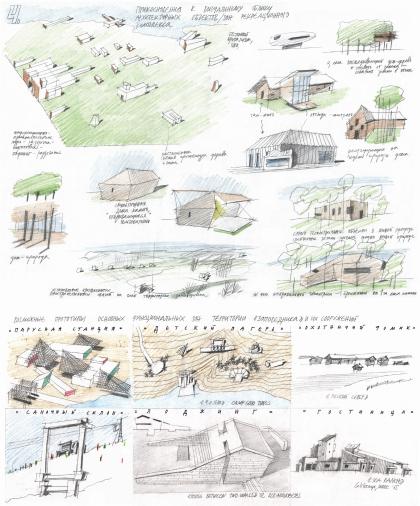 "Contest project ""Drugie berega"" for architectural and urban planning idea of resort complex ""Zapovednik"""