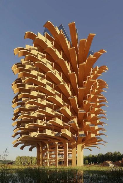 Студия NUDES представила концепцию смотровой башни с солнечными батареями в виде листьев