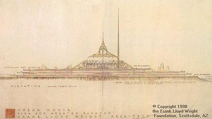 Проект Оперы в Багдаде (Crescent Opera Civic Auditorium), архитектор Фрэнк Л. Райт (Frank Lloyd Wright). Изображение: geocities.com
