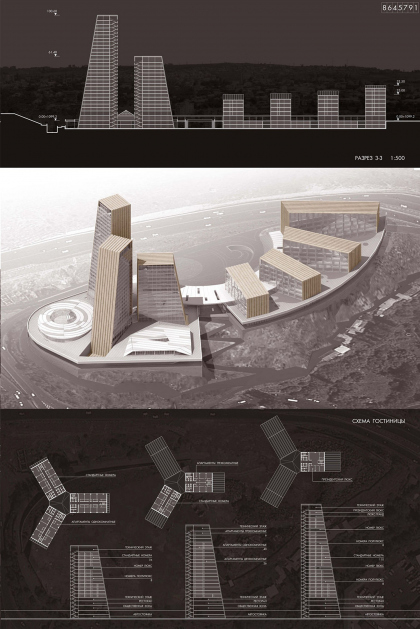 Contest project of the international business centre with a hotel complex Intercontinental in Yerevan