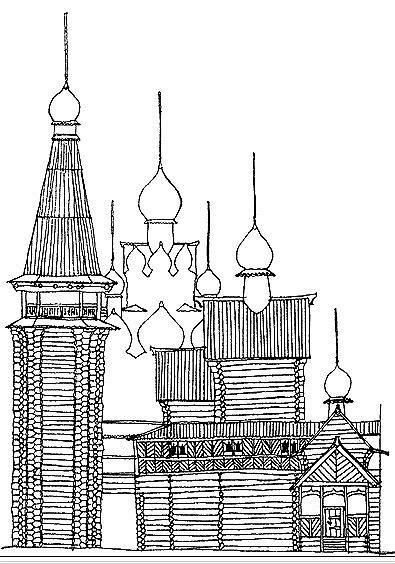 Рис. 5. Церковь Похвалы Богородицы и колокольня. Тобольск, 1621–1624 гг. Южный фасад.