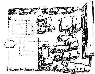 Рис. 7. Двор архиепископа Киприана. Вариант реконструкции застройки. Местоположение храмов показано пунктиром.
