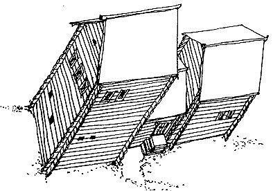 Рис. 9. Дом крестьянина: «горница на амбаре, против той горницы изба черная с подпольем, между ими сени».