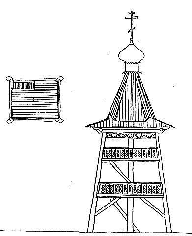 Рис. 12. Колокольня Софийского собора в Тобольске. 1644–1677 гг. План и фасад.