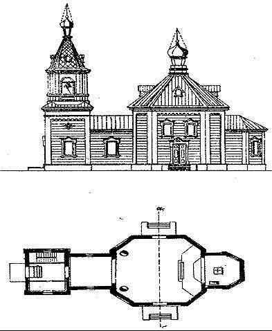 Рис. 15(а).Типовой проект церквей XIX в.