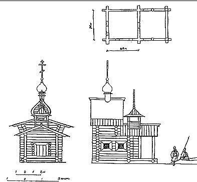 Рис. 25. Фасады и план церкви Казанской Богоматери в Илимске.