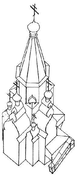 Рис. 27. Церковь Троицы Живоначальной в Томске. 1654 г. Аксонометрия.