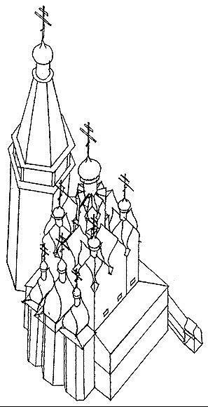 Рис. 28. Собор Софии Премудрости Слова Божия в Тобольске. 1621–1624. Аксонометрия.