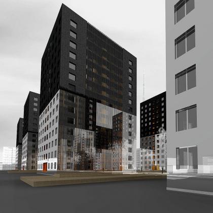 Игры в невесомость (конкурсный проект на лучшее архитектурное решение фасадов жилого комплекса)