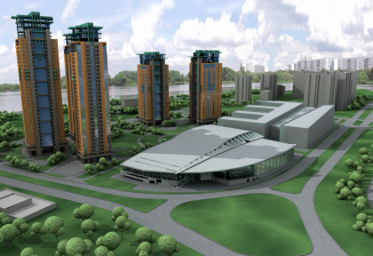 Mixed-use high-rise residential complex with service infrastructure Yantarny gorod, Strogino