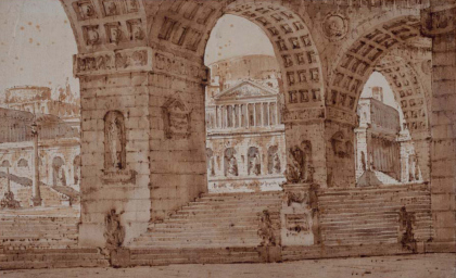Gonzaga, Pietro de Gottardo (1751 – 1831). Part of the four studies for stage designs. Pen and brown ink, brown and grey wash, 208 x 345