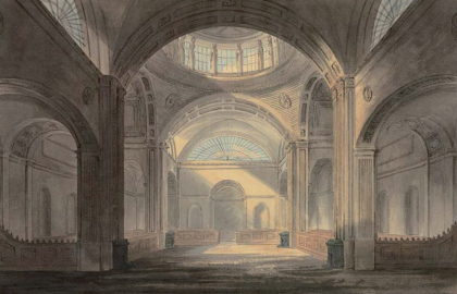 Soane, John (1753 – 1837). Hall of the Bank of England. Watercolour and ink on paper, 320 x 205