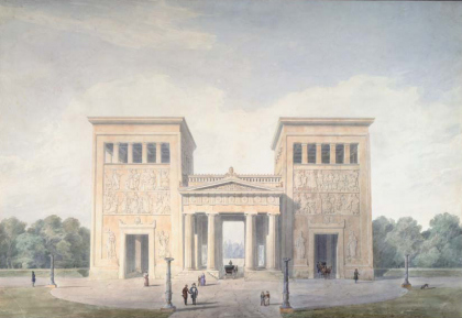 Klenze, Leo von (1784 – 1864). Propylaea in Munich. First Version. Perspective. Circa 1845/46. Quill, dry brush, Indian ink, watercolours and pencil, 628 x 918