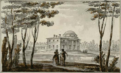 Quarenghi, Giacomo (1744 – 1817). Architectural Capriccio with a View of a Park and a Villa. Quill, dry brush, Indian ink and watercolours, 110 x 184
