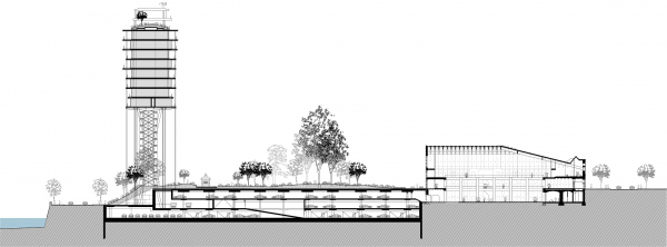 Проект застройки территории Бадаевского пивоваренного завода. Разрез  © Herzog & de Meuron