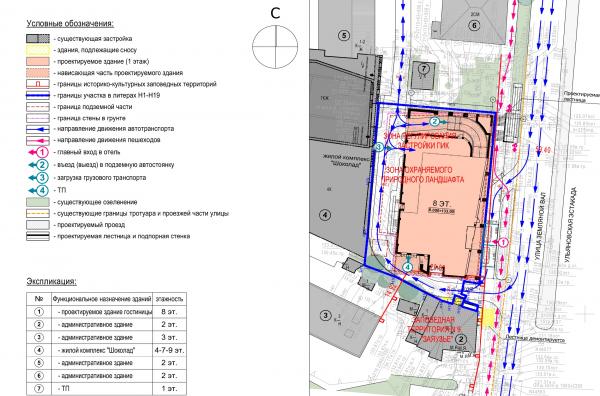 Гостиница на ул. Земляной Вал. Ситуационный план © Архитектурная мастерская «ГРАН»