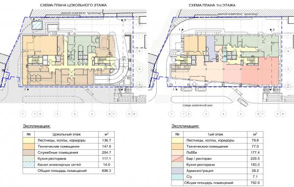Гостиница на ул. Земляной Вал. Схема плана цокольного и первого этажей © Архитектурная мастерская «ГРАН»