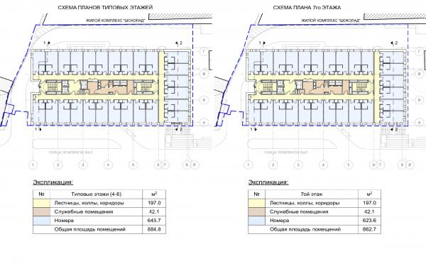Гостиница на ул. Земляной Вал. Схема плана типового и 7 этажей © Архитектурная мастерская «ГРАН»