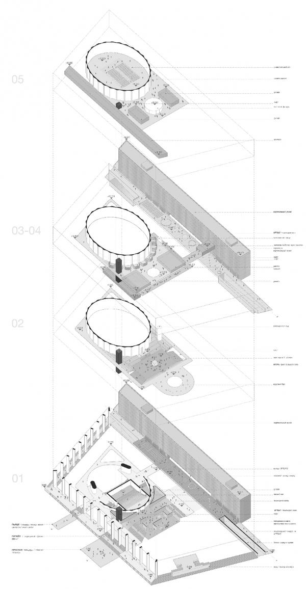 Проект реконструкции Московского Дворца Молодежи. Взрыв-схема  © WALL