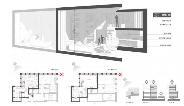Комплекс Snail-apartments. Разрезы © Архиматика