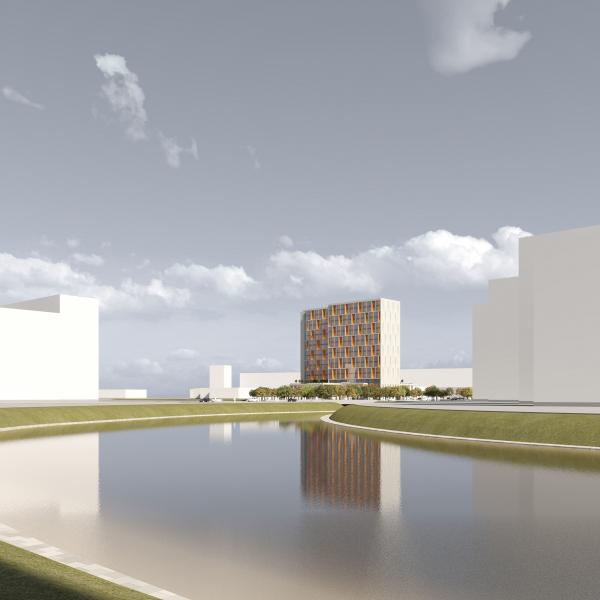 Трехзвёздочная гостиница со встроенными помещениями © Архитектурная мастерская А.А. Столярчука