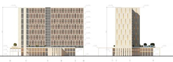 Трехзвёздочная гостиница со встроенными помещениями. Фасады  © Архитектурная мастерская А.А. Столярчука