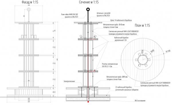 Светильники-катушки, бульвар. Севкабель ПОРТ: проект-перспектива нового общественного пространства Проект © бюро Хвоя