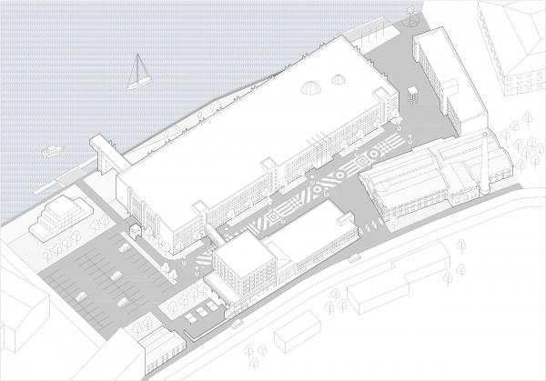 Аксонометрия, вид от Кожевенной линии. Севкабель ПОРТ: проект-перспектива нового общественного пространства Проект © бюро Хвоя