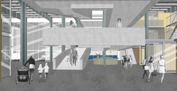 Лестница корпуса «Б», второй ярус. Корпус Б. Севкабель ПОРТ: проект-перспектива нового общественного пространства Проект © бюро Хвоя