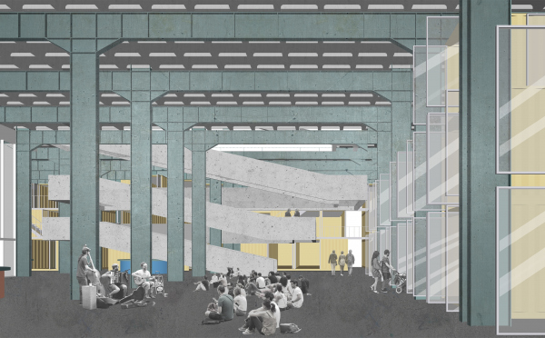 Корпус Б, холл, лестница. Севкабель ПОРТ: проект-перспектива нового общественного пространства Проект © бюро Хвоя