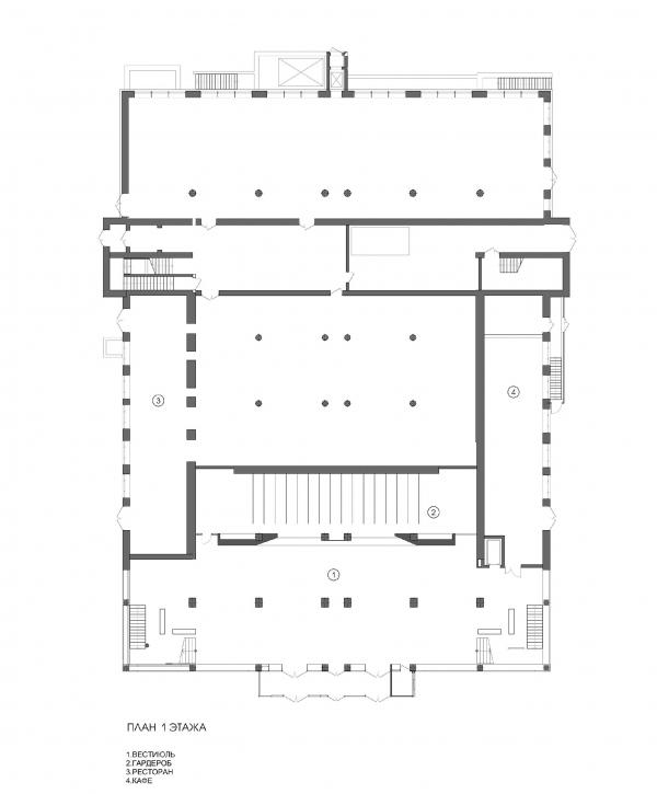 Концертный зал «Юпитер». План 1 этажа © Архитектурное бюро С. Горшунова