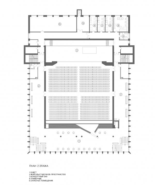 Концертный зал «Юпитер». План 2 этажа © Архитектурное бюро С. Горшунова