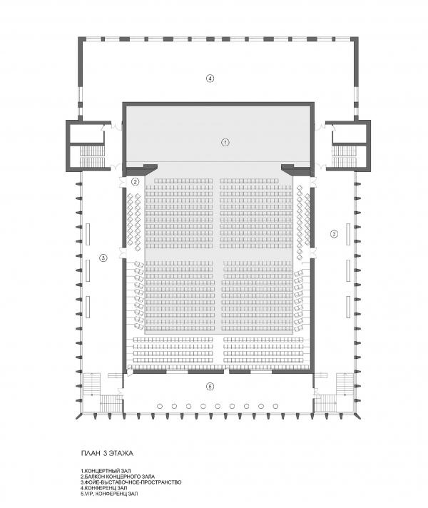 Концертный зал «Юпитер». План 3 этажа © Архитектурное бюро С. Горшунова