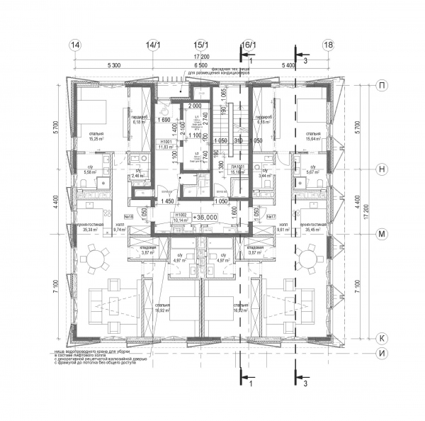Plan of the east tower, the highest one. The housing complex