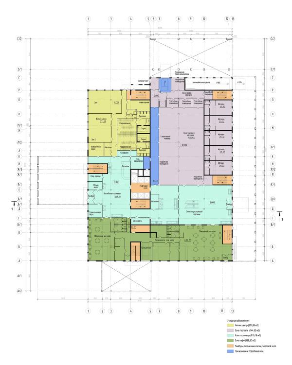 Трехзвёздочная гостиница со встроенными помещениями. План на отм. 0,000 © Архитектурная мастерская А.А. Столярчука