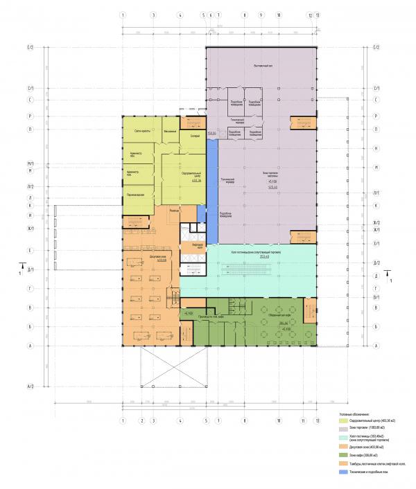 Трехзвёздочная гостиница со встроенными помещениями. План на отм. +5,100 © Архитектурная мастерская А.А. Столярчука