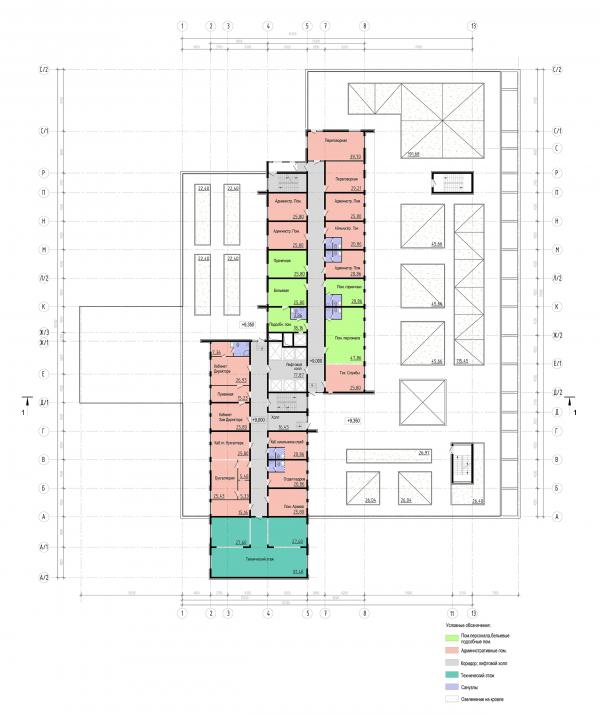 Трехзвёздочная гостиница со встроенными помещениями. План экплуатируемой кровли © Архитектурная мастерская А.А. Столярчука