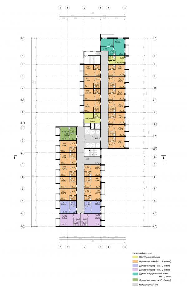 Трехзвёздочная гостиница со встроенными помещениями. План типового этажа © Архитектурная мастерская А.А. Столярчука