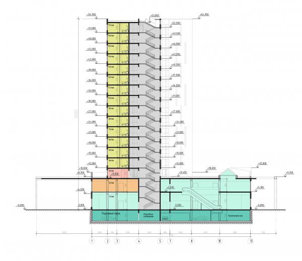 Трехзвёздочная гостиница со встроенными помещениями. Разрез © Архитектурная мастерская А.А. Столярчука