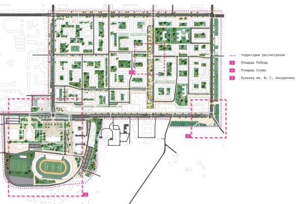 Концепция архитектурно-градостроительного развития территории городского округа «Город Южно-Сахалинск». Схема размещения фрагментов благоустройства территории АБ Остоженка