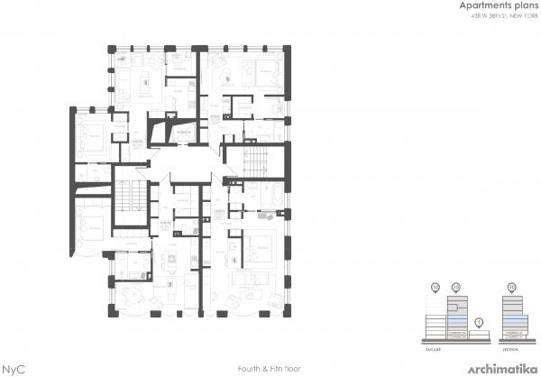 Комплекс Snail-apartments. План 4 и 5 этажей © Архиматика