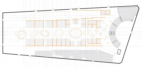 Проект экспозиции фестиваля «Зодчество» в Гостином дворе: план 1 © Савинкин & Кузьмин