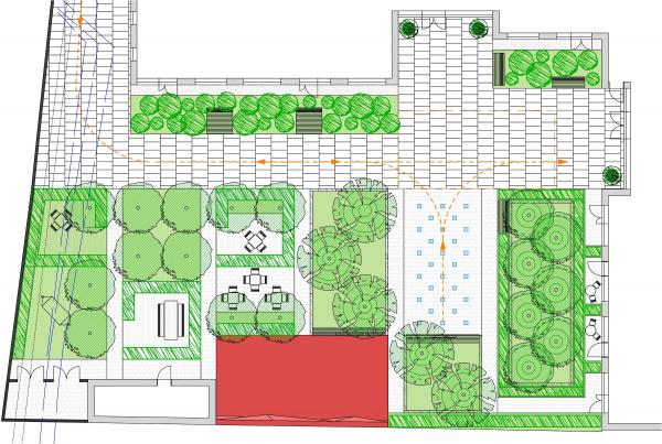 Генеральный план двора элитного дома Малая Ордынка 19. Красным цветом выделена зона пространства «Дюны» Архитектурное бюро «Дружба»
