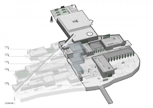 Сечение 1 Музейно-образовательный комплекс и музей славы Севастополя © Студия 44