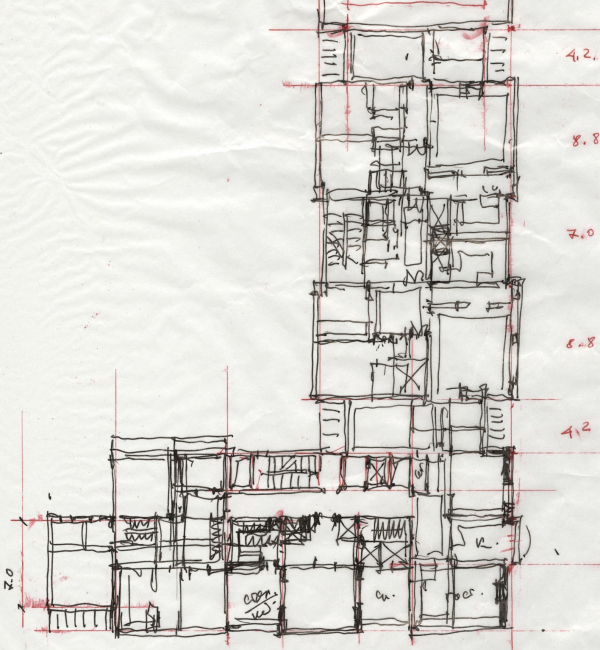 Эскиз планировки. ЖК Дом Бакст, проект © АБ Гран