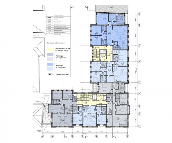 План 4 этажа. ЖК Дом Бакст, проект © АБ Гран