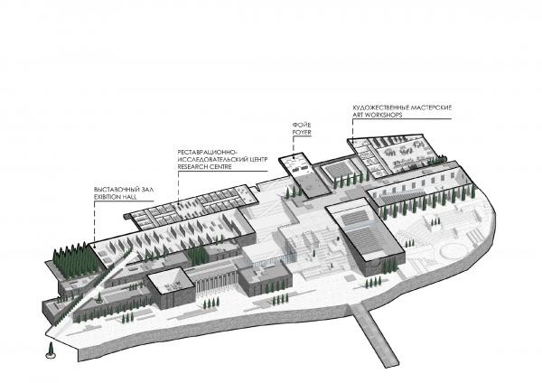 Аксонометрический план на отметке 6.750. Музейно-образовательный комплекс и музей славы Севастополя © Студия 44