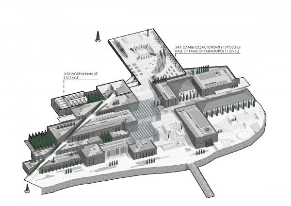 Аксонометрический план на отметке 13.00. Музейно-образовательный комплекс и музей славы Севастополя © Студия 44
